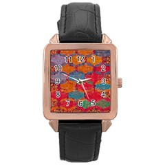 Abstract Art Pattern Rose Gold Leather Watch
