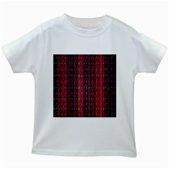 Colorful And Glowing Pixelated Pixel Pattern Kids White T Shirts
