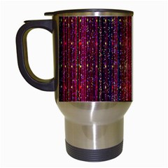 Colorful And Glowing Pixelated Pixel Pattern Travel Mugs (White)