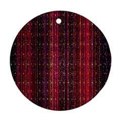 Colorful And Glowing Pixelated Pixel Pattern Round Ornament (Two Sides)