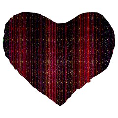 Colorful And Glowing Pixelated Pixel Pattern Large 19  Premium Heart Shape Cushions