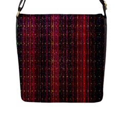 Colorful And Glowing Pixelated Pixel Pattern Flap Messenger Bag (L)