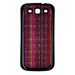Colorful And Glowing Pixelated Pixel Pattern Samsung Galaxy S3 Back Case (Black)