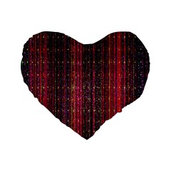 Colorful And Glowing Pixelated Pixel Pattern Standard 16  Premium Flano Heart Shape Cushions