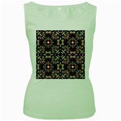 Abstract Elegant Background Pattern Women s Green Tank Top