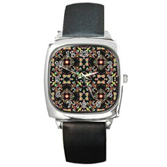 Abstract Elegant Background Pattern Square Metal Watch