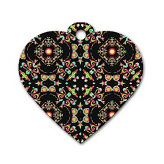 Abstract Elegant Background Pattern Dog Tag Heart (two Sides)