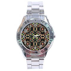 Abstract Elegant Background Pattern Stainless Steel Analogue Watch
