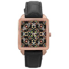 Abstract Elegant Background Pattern Rose Gold Leather Watch