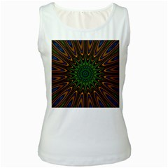 Vibrant Colorful Abstract Pattern Seamless Women s White Tank Top