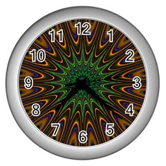 Vibrant Colorful Abstract Pattern Seamless Wall Clocks (Silver)
