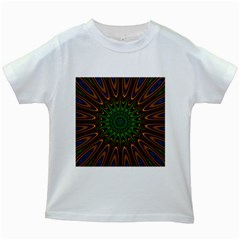 Vibrant Colorful Abstract Pattern Seamless Kids White T-Shirts
