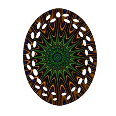 Vibrant Colorful Abstract Pattern Seamless Oval Filigree Ornament (Two Sides)