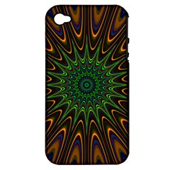 Vibrant Colorful Abstract Pattern Seamless Apple iPhone 4/4S Hardshell Case (PC+Silicone)
