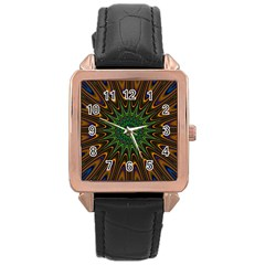 Vibrant Colorful Abstract Pattern Seamless Rose Gold Leather Watch