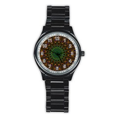 Vibrant Colorful Abstract Pattern Seamless Stainless Steel Round Watch