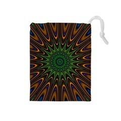 Vibrant Colorful Abstract Pattern Seamless Drawstring Pouches (Medium)