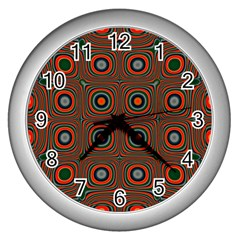 Vibrant Pattern Seamless Colorful Wall Clocks (silver)