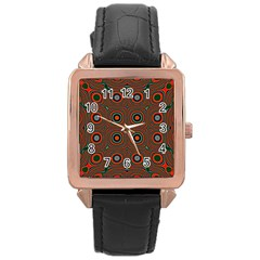 Vibrant Pattern Seamless Colorful Rose Gold Leather Watch