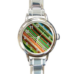 Colorful Stripe Extrude Background Round Italian Charm Watch