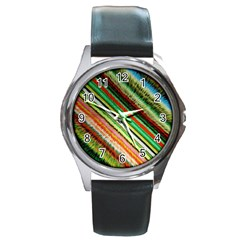 Colorful Stripe Extrude Background Round Metal Watch