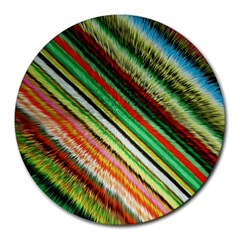 Colorful Stripe Extrude Background Round Mousepads