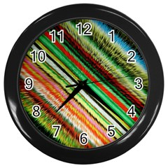 Colorful Stripe Extrude Background Wall Clocks (black)