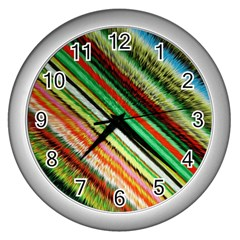Colorful Stripe Extrude Background Wall Clocks (Silver)