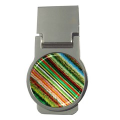 Colorful Stripe Extrude Background Money Clips (round)