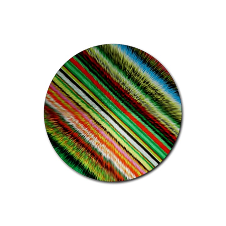 Colorful Stripe Extrude Background Rubber Coaster (Round)