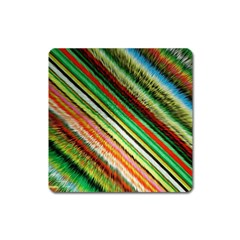 Colorful Stripe Extrude Background Square Magnet