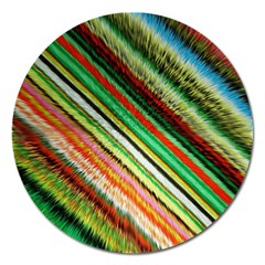 Colorful Stripe Extrude Background Magnet 5  (Round)