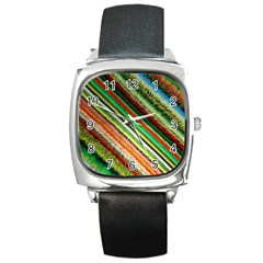 Colorful Stripe Extrude Background Square Metal Watch
