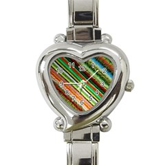 Colorful Stripe Extrude Background Heart Italian Charm Watch