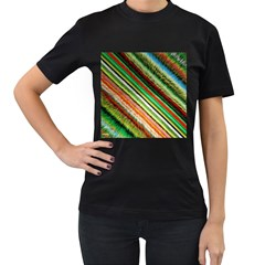 Colorful Stripe Extrude Background Women s T-Shirt (Black) (Two Sided)