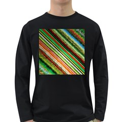 Colorful Stripe Extrude Background Long Sleeve Dark T-Shirts