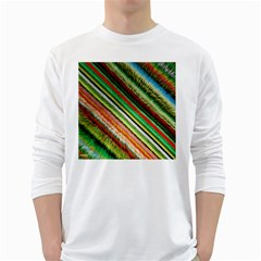 Colorful Stripe Extrude Background White Long Sleeve T Shirts