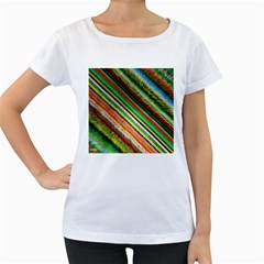 Colorful Stripe Extrude Background Women s Loose-Fit T-Shirt (White)