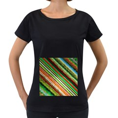 Colorful Stripe Extrude Background Women s Loose Fit T Shirt (black)