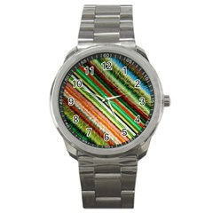 Colorful Stripe Extrude Background Sport Metal Watch