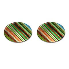 Colorful Stripe Extrude Background Cufflinks (oval)
