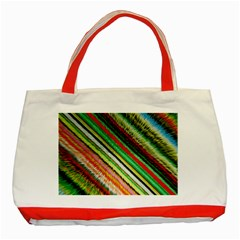 Colorful Stripe Extrude Background Classic Tote Bag (Red)