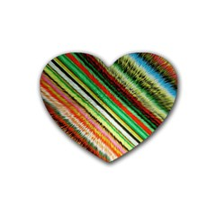Colorful Stripe Extrude Background Heart Coaster (4 Pack)