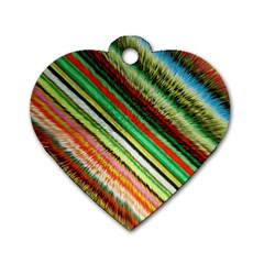 Colorful Stripe Extrude Background Dog Tag Heart (Two Sides)