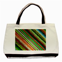 Colorful Stripe Extrude Background Basic Tote Bag (two Sides)