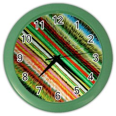 Colorful Stripe Extrude Background Color Wall Clocks