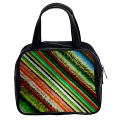 Colorful Stripe Extrude Background Classic Handbags (2 Sides)