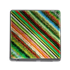 Colorful Stripe Extrude Background Memory Card Reader (square)