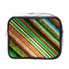 Colorful Stripe Extrude Background Mini Toiletries Bags