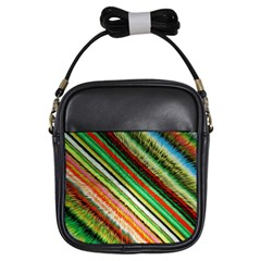 Colorful Stripe Extrude Background Girls Sling Bags